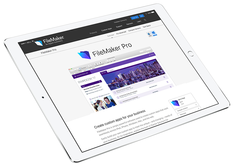 Filemaker Pro mockup on Ipad